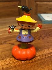 New Solar Powered Dancing Toy Bobble Head Scarecrow & Crows On Pumpkin