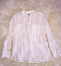 NWT MADEWELL J CREW SILK LACE-UP SHIRT SIZE XXS BRIGHT IVORY F5937 $110 SOLDOUT!