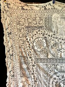"""Antique Normandy hand made mixed lace tablecloth 56 x 78"""""""