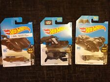 3 x Hot Wheels Batman Cars- 2 x  Batmobile & The Bat - UK Seller