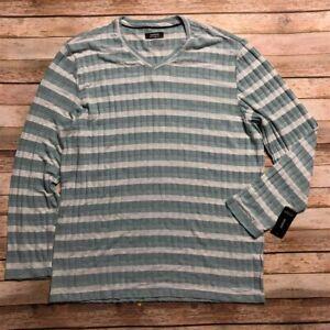 Alfani Mens V Neck Knit Green White Striped Shirt Soft M Henley