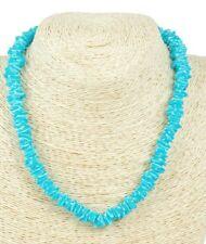 "NEW handmade LIGHT BLUE PUKA SHELL Chips Natural Shell Necklace 18"" long"