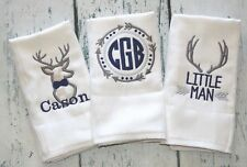 PERSONALIZED Tribal Burp Cloth set of 3 - Boys Deer and Arrow Baby Set Newborn