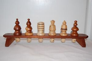 Chess Piece Wine Bottle Stoppers Made In Wood With Wooden Stand. Good Condition.