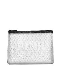 Victoria's Secret Pink Clear Cosmetic Makeup Bag Glitter Dot Beauty Pouch