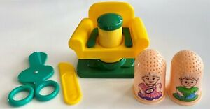 Vintage Play Doh Fuzzy Barber Haircut Mold Beauty Hair Press Tools Accessory Lot