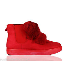 WOMENS LADIES NEW POM POM TRAINERS FLAT CHELSEA FUR FLUFFY ANKLE BOOTS SIZE 3-8