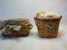 2001 Longaberger Love Notes Basket w/Protector and liner &2003 Woven Memories