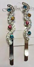 card of 2multi colour diamante silver hair grips/clips/ slides