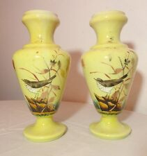 pair of 2 antique hand painted yellow mold blown bristol glass bird vases