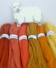 MERINO RUST / GOLD SHADES dyed wool tops / roving / needle felting  60g