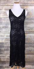 Eileen Fisher Black Lace Dress Gray Silk Slip Sleeveless Gatsby Flapper $378