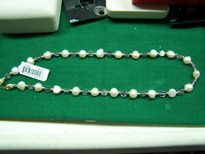 14K Gold Amethyst & Pearl Necklace  New With Tags  Made in U.S.A.  Nice  NR!!