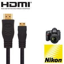 Cámara SLR Nikon D600/D3300/D3400/D5300 D HDMI Mini Monitor de TV 2.5m cable de plomo