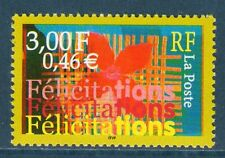 TIMBRES 3308 NEUF XX LUXE - COMPOSITION AVEC FELICITATIONS - FLEUR STYLISEE