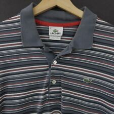 Lacoste Mens Polo Shirt Size 6 Short Sleeve Striped Cotton