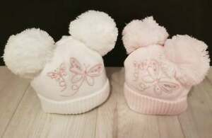BABY GIRLS DOUBLE POM POM BUTTERFLY HAT PINK / WHITE NB 0/3, 3/6, 6/12 MONTH
