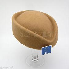 VINTAGE Wool Felt Ladies Fascinators Women Pillbox Wedding Hat   56cm   Beige