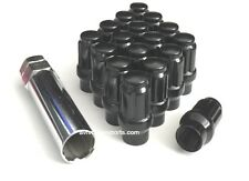 32 SPLINE ET (EXTENDED THREAD) TUNER LUG NUTS 14X1.5 GLOSS BLACK GMC CHEVY FORD