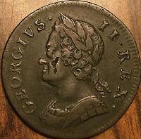 1749 GREAT BRITAIN GEORGE II HALF PENNY COIN - Very nice!