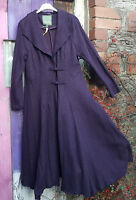 BOHEMIA SWEDEN LONG PURPLE BOILED WOOL FITTED PANELLED COAT EMBROIDERED DETAIL