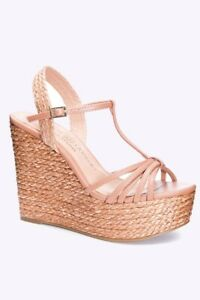 NWT CHINESE LAUNDRY STRAPPY WEDGE BEIGE TAN BRAID PLATFORM HEELS WOMENS SIZE 7
