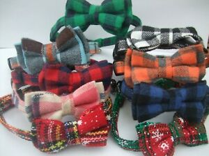 Cat collar bow tie, bell, safety release quick snap open buckle tartan chequered
