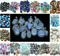 Amethyst Malachite Pendants 925 sterling silver plated Wholesale Lot jewelry