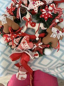 Tilda XL Weihnachtskranz Türkranz Tannenzweige Weihnachtskugeln Lebkuchen Kranz