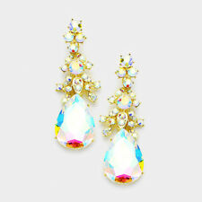 AB diamante earrings sparkly bling prom party long Aurora Borealis dangly 407GAB