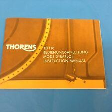 Manuale di istruzioni giradischi  Thorens TD 110