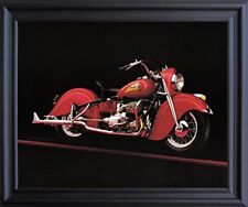 Vintage Red Indian Motorcycle Road master Wall Decor Black Framed Art Picture
