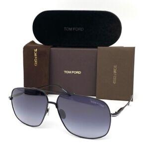 Tom Ford JOHN FT0746 01W Shiny Black / Gradient Blue 62mm Sunglasses TF0746