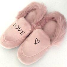 VICTORIA'S SECRET Velvet Faux Fur Lining Pink Angel Logo Slide Slippers L (9-10)