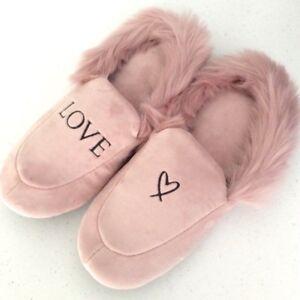 VICTORIA'S SECRET Velvet Faux Fur Lining Pink Angel Logo Slide Slippers XL
