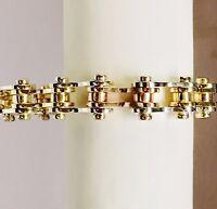 "14k Solid TRI COLOR GOLD Motorcycle/Bike Chain Bracelet 8.5"" 11.5mm 95 grams"