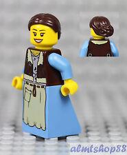 LEGO - Minifigure Blue Apron Dress Brown Knot Bun Hair Peasant Girl Maid Castle
