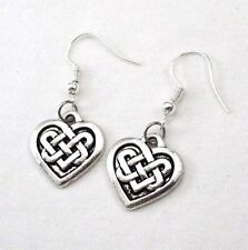 925 Sterling Silver Hooks Vintage Silver Alloy Irish Love Celtic Knot Earrings