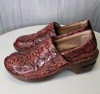 Born BOC Womens Size 7 Clogs Slip On Mules Snake Print Nursing Work Style Shoes