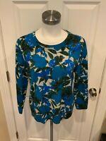 J. Crew Blue Floral Print Sweater w/ Sequins, Size Large