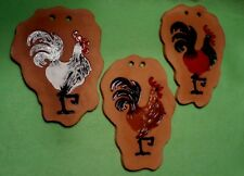 Set of 3 Spanish TERRA COTTA ROOSTER wall plaques in relief & vibrant colors.