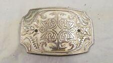 Vintage Metal Geometric & Floral Design Belt Buckle