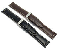 Smooth Contrast Stitched Padded Leather Watch Strap 16mm 18mm 20mm c030