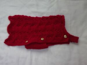 """Red Hand Knit Dog Coat for a Small Dog - 12.5""""/32cms Long - BNWOT"""
