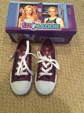 New listing Disney Liv and Maddie purple sparkly canvas lace up shoes girls 12 1/2