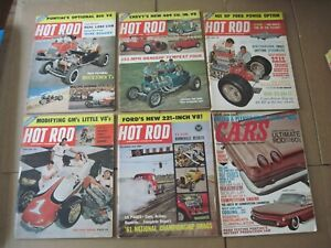 Large Lot of 60 Vintage Hot Rod Magazines & Others w/ 2 Binders 1950's 60's 70's