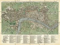 Pocket guide old antique plan London & Westminster map J. Ellis 1770 art poster