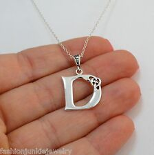 Celtic Initial Letter D Necklace - 925 Sterling Silver Celtic Knot Name Pendant