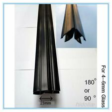 MAGNETIC BLACK PVC PLASTIC SHOWER SCREEN DOOR WATER SEAL STRIP 2M 180/90 6mm
