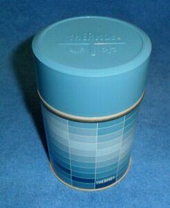 Vintage King-Seeley Metal Thermos 7010p 10 oz bottle Blue & white rectangles